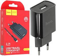 Сетевое зарядное устройство HOCO DC20A 1 USB 2.1A + Кабель microUSB (черный)