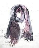 Теплий шарф Марлін клітина 180*75 см бузковий
