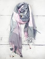 Теплий шарф Марлін клітина 180*75 см сірий/рожевий