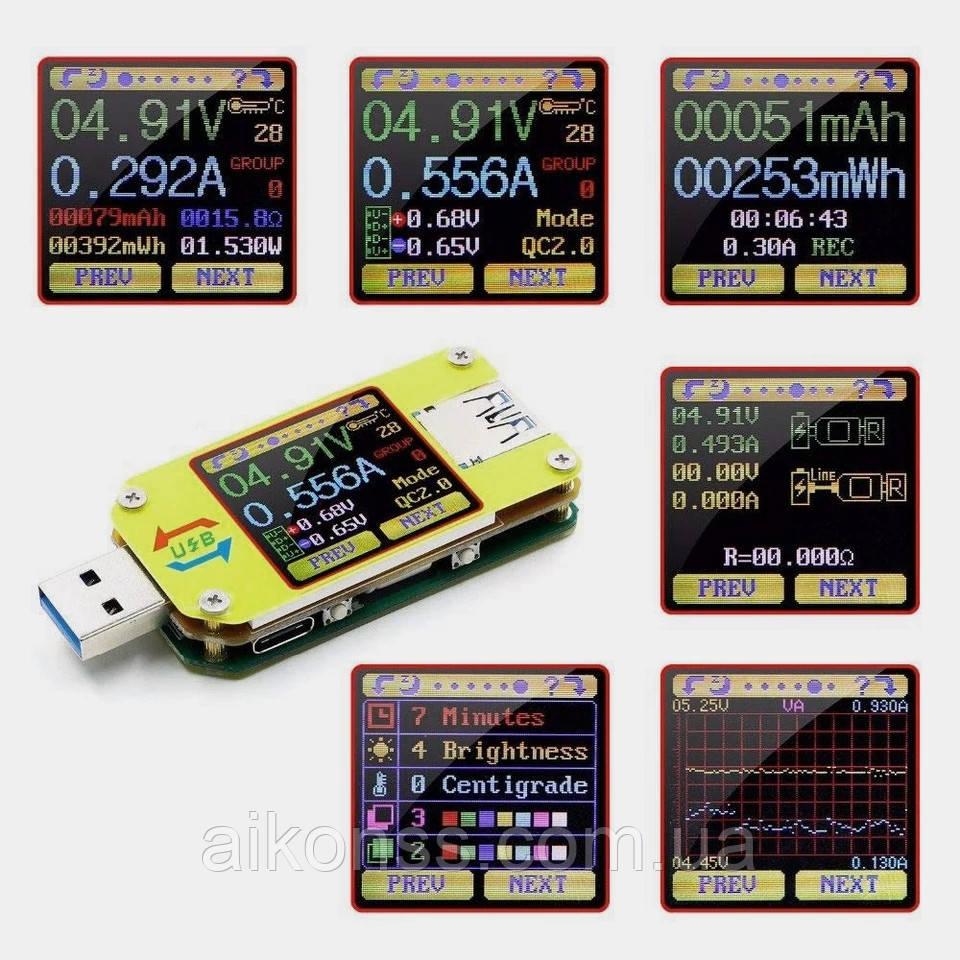Оригинал от RIDEN ! Многофункциональный USB тестер RUIDENG  UM34 без Bluetooth , USB 3.0 осциллограф