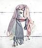 Теплый шарф Марлин клетка 180*75 см пудра