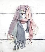 Теплый шарф Марлин клетка 180*75 см пудра, фото 1