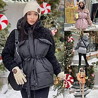 Р 42-46 Теплая куртка барашек с поясом и капюшоном 23357