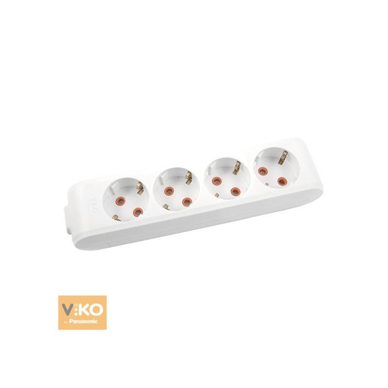 Колодка 4 гнізда з заземленням VIKO Multi-Let - Білий