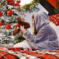 Детский домашний халат из плюшевой турецкой махры серый с капюшоном