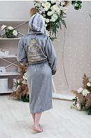"""Серый махровый женский халат с вышивкой """"Любимая мама"""""""