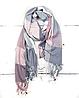 Теплый шарф Марлин клетка 180*75 см пудра/серый