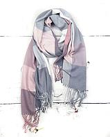 Теплый шарф Марлин клетка 180*75 см пудра/серый, фото 1
