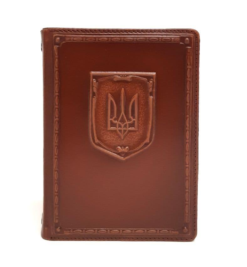 """Щоденник А6 не датований в шкіряній обкладинці з об'ємним тисненням """"Герб України"""""""