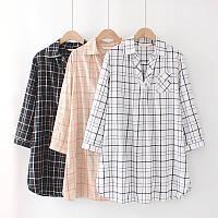 Женское стильное платье-рубашка в клетку