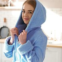 Халат женский банный махровый 100% хлопок голубой с капюшоном на запах длинный