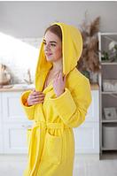 Халат махровый теплый домашний яркий желтый длинный с капюшоном