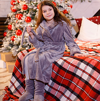 Детский теплый халат махровый с капюшоном на запах
