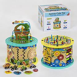 Деревянный логический куб / развивающая деревянная игрушка для развития моторики
