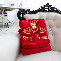 Стильный махровый халат с именной вышивкой красный с капюшоном и на запах