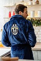 Махровый мужской халат с логотипом футбольного клуба из плюшевой махры длинный с воротником