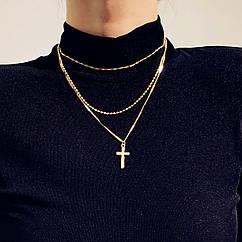 Набор цепочек из 3 шт Тонкая Цепочка на шею с Крестиком City-A Цвет Золотая №3053