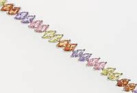 """Браслет СМ Родий """"Дорожка цветных кристаллов"""" размер 19см х 7мм"""