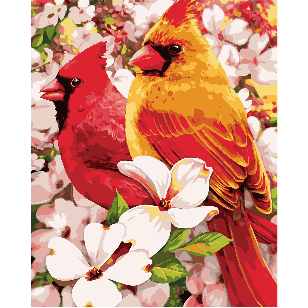 Картина по номерам VA-0922 Птицы в цветах, 40х50 см Strateg