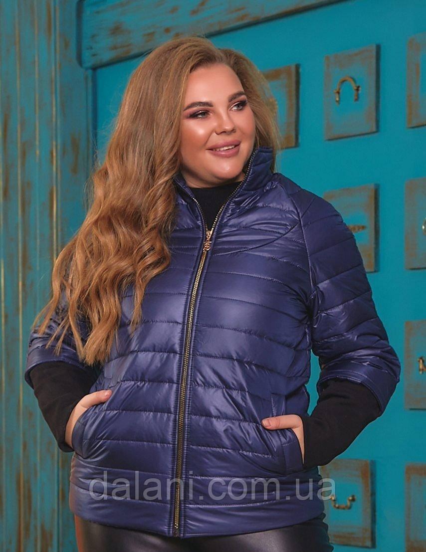Жіноча синя куртка з рукавами реглан батал