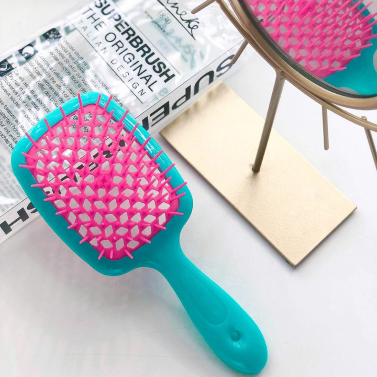 Расческа для волос Janeke 1830 Superbrush, бирюза с розовым