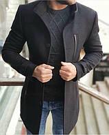 Пальто мужское кашемировое весеннее осеннее Band черное | Деловое классическое пальто ЛЮКС качества