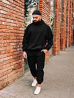 Удобный спортивный мужской костюм теплый черный