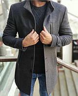 Пальто мужское кашемировое весеннее осеннее Band темно-серое | Деловое классическое пальто ЛЮКС качества