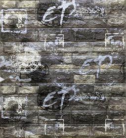 Самоклеюча 3D панель, декоративні стенові 3Д панелі під цеглу, Сірий графіті