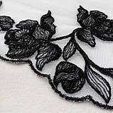 Ажурное кружево вышивка на сетке: черная нить на белой сетке, ширина 20 см, фото 5