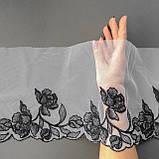 Ажурное кружево вышивка на сетке: черная нить на белой сетке, ширина 20 см, фото 3