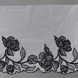 Ажурное кружево вышивка на сетке: черная нить на белой сетке, ширина 20 см, фото 4