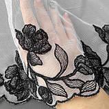Ажурное кружево вышивка на сетке: черная нить на белой сетке, ширина 20 см, фото 6