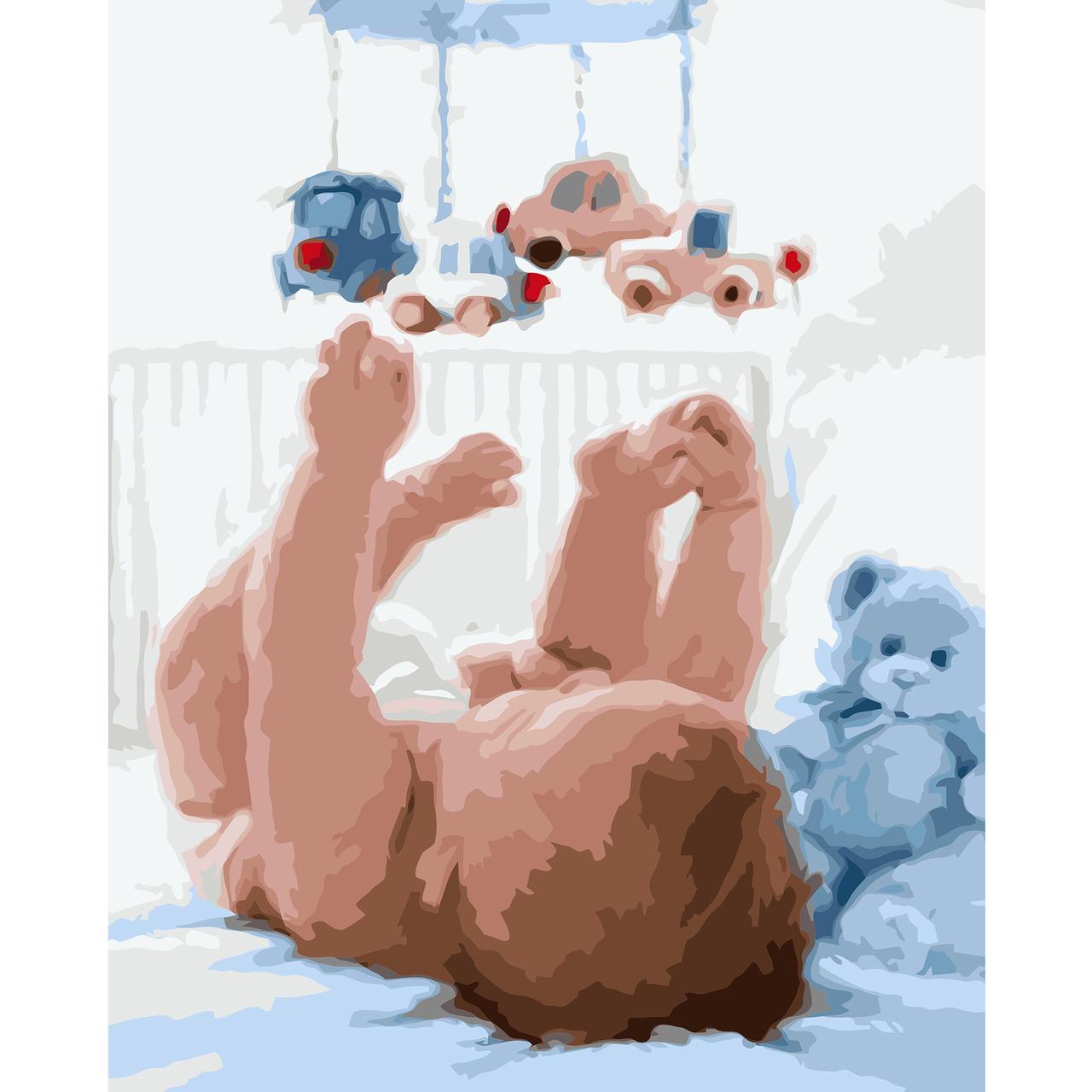 Картина по номерам VA-0886 Младенец с подвесными игрушками, 40х50 см Strateg
