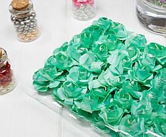 (ОПТ,12 букетиков) Роза бумажная 1,5см (144 шт) Цвет - Ментол