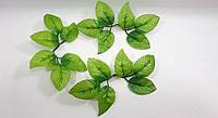 Искусственные листья розы соединенные(в 1 упаковке 50 штук)1 розетка 6 листочков(маленькие с красным краем)., фото 1