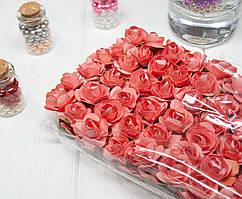 (ОПТ,12 букетиков) Роза бумажная 1,5см (144 шт) Цвет - Коралловый