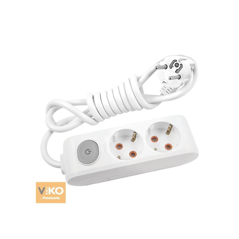 Удлинитель 2 гнезда 2/3/5м c заземлением и кнопкой VIKO Multi-Let - 2 м