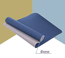 Йога мат (килимок для фітнесу і йоги) Щільний спортивний килимок (каремат) yoga mat Синьо-сірий