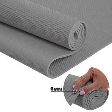 Йога мат (коврик для фитнеса и йоги) Плотный спортивный коврик (каремат) yoga mat Серый