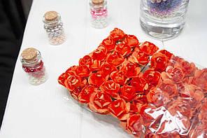 (ОПТ,12 букетиков) Роза бумажная 1,5см (144 шт) Цвет - Оранжевый