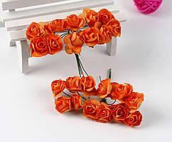 Роза бумажная 1,5см (букет 12шт) Цвет - Оранжевый