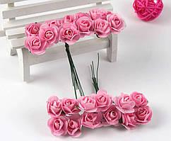 Роза бумажная 1,5см (букет 12шт) Цвет - Розовый