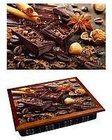 Поднос для завтрака кофейный столик 36,5х44,3х9,5 см Шоколад