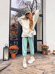 Женский комбинированный костюм с начесом худи с капюшоном и стильные штаны