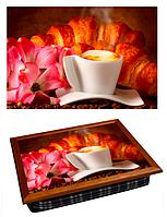 Поднос для завтрака кофейный столик 36,5х44,3х9,5 см Круассаны
