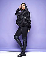 """Велюровая женская куртка """"Minna"""" с кожаными вставками (большие размеры)"""