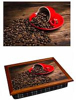 Поднос для завтрака кофейный столик 36,5х44,3х9,5 см Зерновой кофе