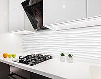 Кухонна панель на стіну жорстка 3д хвилі під гіпс, з двостороннім скотчем 62 х 205 см