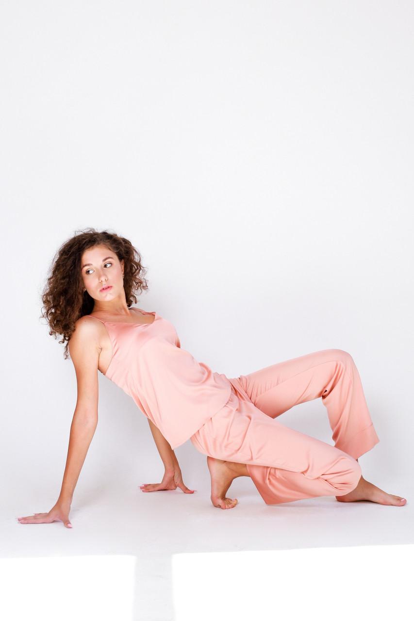 Комплект штаны и майка шелковые SWAM KIRA, S, персиковий